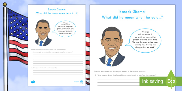Barack Obama: What did he mean? Research and Discussion Worksheet / Activity Sheet - American Presidents, American History, Social Studies, Barack Obama, Lyndon B. Johnson, Franklin D.