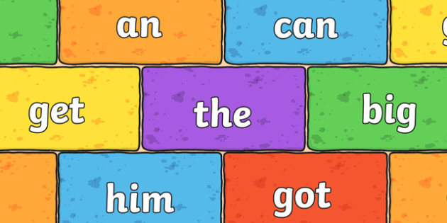 Phase 2 Tricky Words and Decodable Words on Multicoloured Bricks - literacy