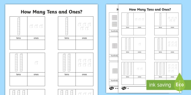 Tens and Ones Worksheet - count, counting aid, numeracy, maths