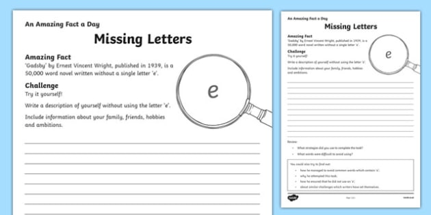 Missing Letters Worksheet / Activity Sheet, worksheet