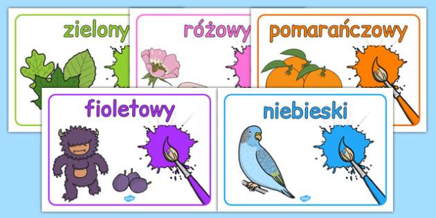 Plakat ze słownictwem Kolory po polsku - przedszkole