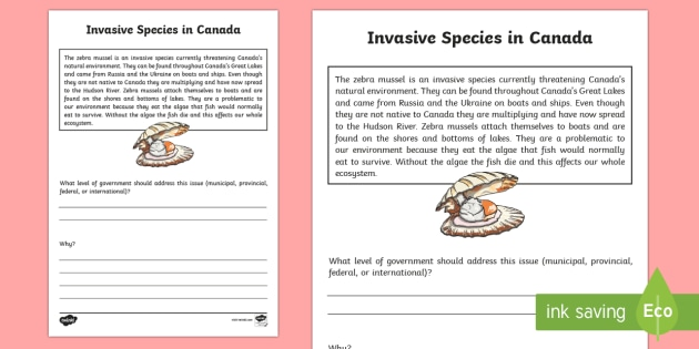 Invasive Species Writing Worksheet Activity Sheet Uniquely Canadian