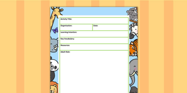 Zoo Themed Adult Led Carpet Based Activity Planning Template
