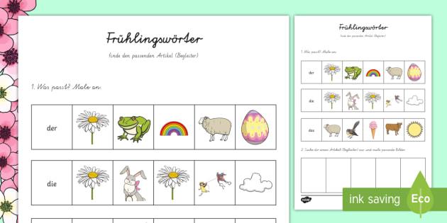 Frühlingswörter - finde den passenden Artikel (Begleiter)