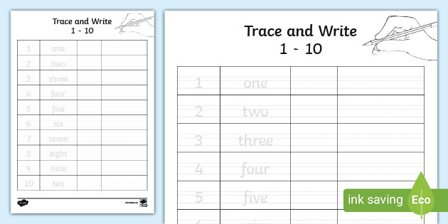1-10 In Words Trace And Write Worksheet (teacher Made)