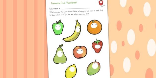Favourite Fruits Worksheet - fruit, health, healthy eating, food