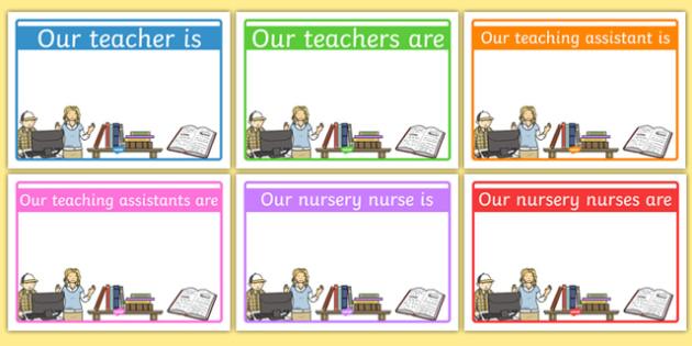 Editable Classroom Teacher/TA/NN Signs (Design 1) - Classroom sign, welcome, teacher, teaching assistant, welcome sign, door sign, class sign, KS1 sign,  Editable sign, class door sign