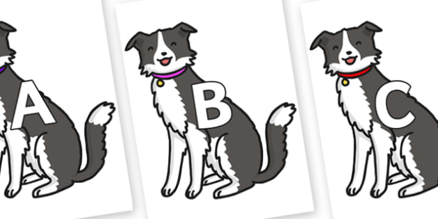A-Z Alphabet on Dog - A-Z, A4, display, Alphabet frieze, Display letters, Letter posters, A-Z letters, Alphabet flashcards