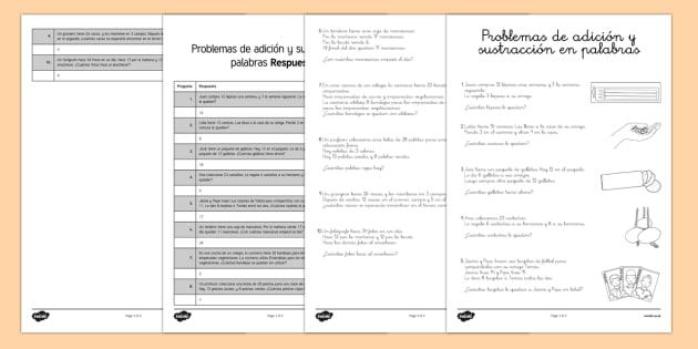Ficha de actividad - Problemas de adición y sustracción