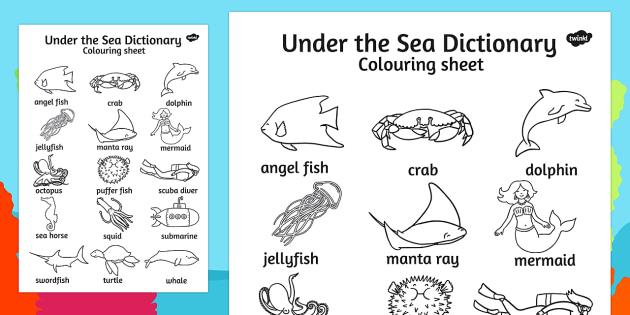 Under the Sea Dictionary Colouring Sheet - ESL Ocean Vocabulary