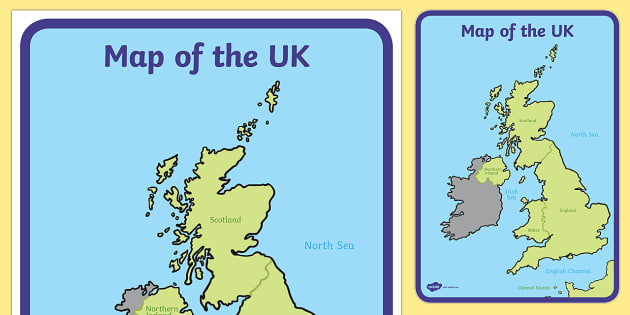 Map Of England For Ks1.Uk Map Geography Map Reading Display Map Geography Display