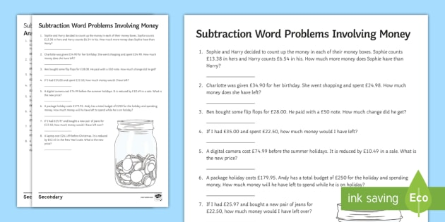 subtraction with money word problems worksheet  worksheet  money  subtraction with money word problems worksheet  worksheet  money  decimals complex questionning