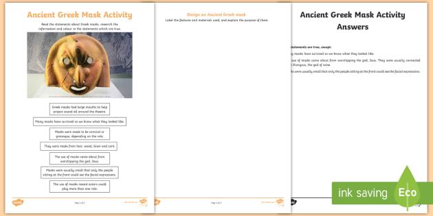 KS2 Ancient Greek Masks Worksheet / Activity Sheet - KS2