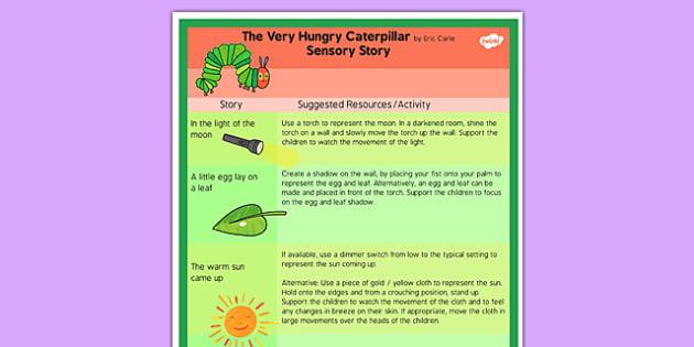 The Very Hungry Caterpillar Sensory Story - sensory story, story