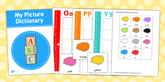 Colour Picture Dictionary Word Cards - picture dictionary, colour
