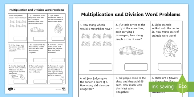 Year 2 Multiplication and Division Word Problems x2, x5, x10