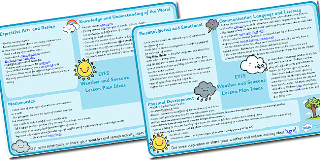Weather and Seasons Lesson Plan Ideas EYFS - weather, seasons, lesson plan