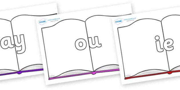 Phase 5 Phonemes on Books - Phonemes, phoneme, Phase 5, Phase five, Foundation, Literacy, Letters and Sounds, DfES, display