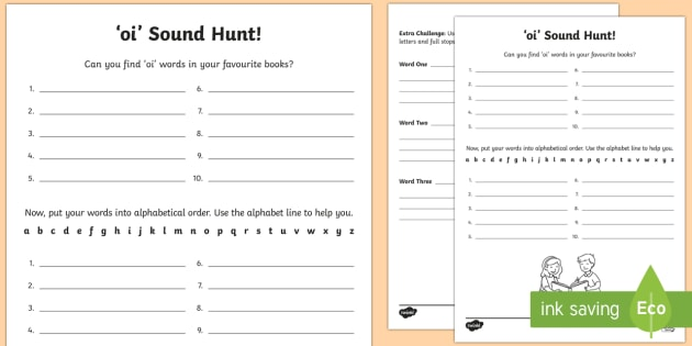 oi' Sound Hunt Worksheet / Worksheet - jolly phonics ...