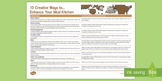 10 Creative Ways to Enhance Your Mud Kitchen , EYFS, Early