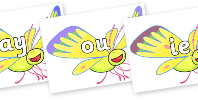 Phase 5 Phonemes on Yellow Butterfly to Support Teaching on The Crunching Munching Caterpillar - Phonemes, phoneme, Phase 5, Phase five, Foundation, Literacy, Letters and Sounds, DfES, display