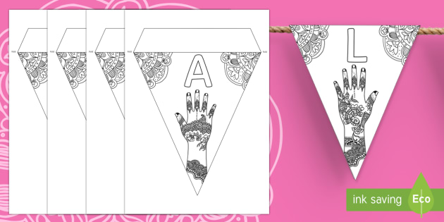 Mehndi Pattern Colouring Make Your Own Display Bunting