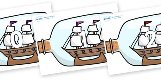 Numbers 0-100 on Ship in a Bottles - 0-100, foundation stage numeracy, Number recognition, Number flashcards, counting, number frieze, Display numbers, number posters
