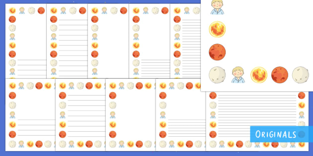 Back to Earth with a Bump Page Border Pack - Back to Earth with a Bump, Page border, writing, EYFS, KS1, story, space, earth, sun, moon, rocket,