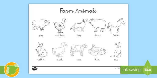 Diccionario: Animales de la granja en inglés - Farm, Animals
