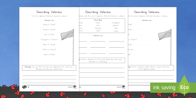 Veterans are... ? Differentiated Activity Sheets