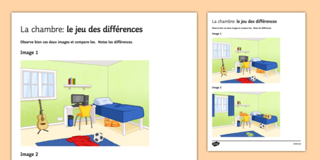 Bedroom Spot the Difference Activity Sheet French - Furniture, Preposition, Description, speaking, Chambre, Picture, Difference