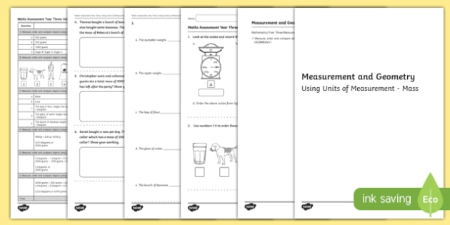 Year 3 Measurement and Geometry Units of Measurement Mass Assessment - australia, year 3, measurement and geometry, units of measurement, mass, assessment