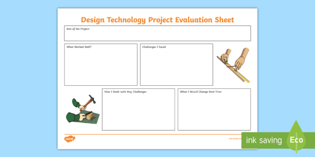 Design Technology Project Evaluation Worksheet  Activity Sheet