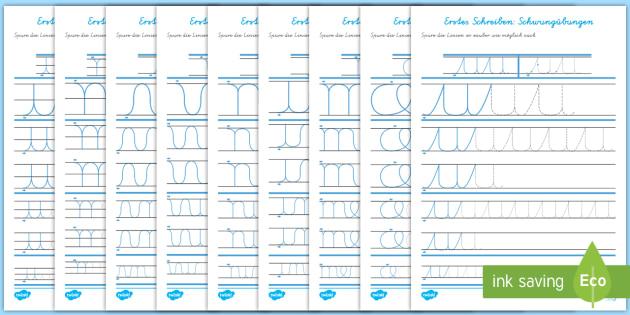Erstes Schreiben: Schlaufen und Bögen Arbeitsblätter
