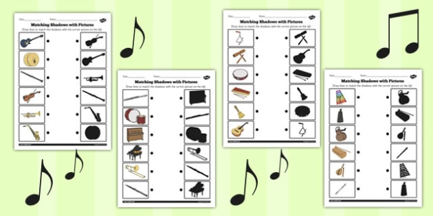 Music Shadow Matching Worksheet - music, shadow, matching, sheet
