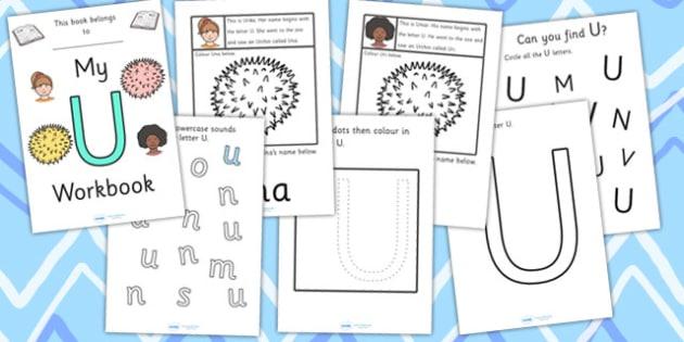 My Workbook U uppercase - education, home school, child development, children activities, free, kids, worksheets, how to write, literacy
