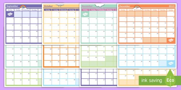 New 2019 Monthly Calendar Planning Template Monthly Calendar