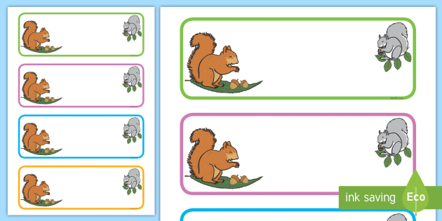 Squirrel Themed Editable Drawer-Peg-Name Labels (Blank) - Themed Classroom Label Templates, Resource Labels, Name Labels, Editable Labels, Drawer Labels, Coat Peg Labels, Peg Label, KS1 Labels, Foundation Labels, Foundation Stage Labels, Teaching Lab