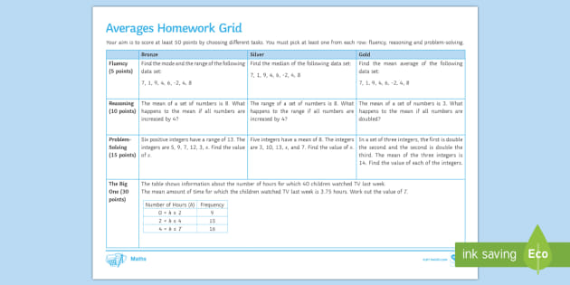 ks3 averages homework