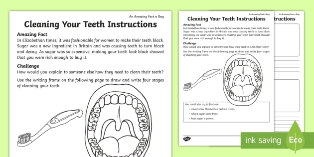 clean your teeth instructions worksheet activity sheet. Black Bedroom Furniture Sets. Home Design Ideas