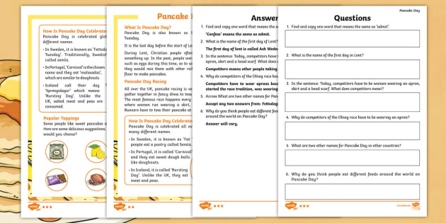 KS1 Pancake Day Differentiated Comprehension Go Respond Activity Sheets - KS1, Year 1, Year 2, English, Reading, Reading Comprehension, Differentiated, Pancake Day, Shrove Tu
