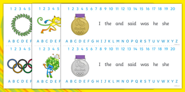 Rio Olympics Combined Number Alphabet Strips - numbers, letters, maths, english, literacy, numeracy, visual aid, sport, rio de janiero, athletics