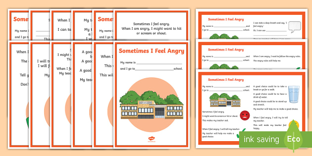 Sometimes I Feel Angry Social Situation - Social story, ASD, ASC, autism, angry, anger, emotional regualtion, dysregulation, emotional recogni