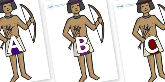 A-Z Alphabet on Egyptian Archers - A-Z, A4, display, Alphabet frieze, Display letters, Letter posters, A-Z letters, Alphabet flashcards