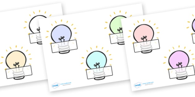 Self-Registration Classroom Signs (Light Bulbs) - Self registration, background, light bulb, electricity, dsiplay sign, poster, editable, label, topic, self registration