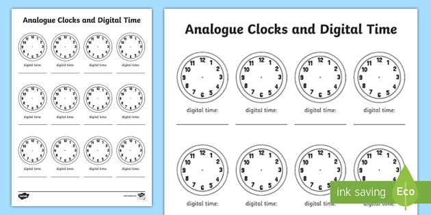 analogue clock and digital time template worksheet activity