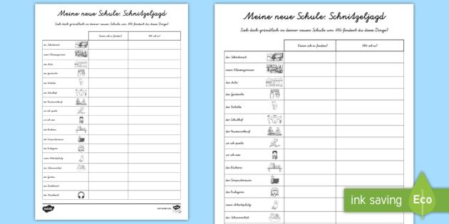 Meine neue Schule: Schnitzeljagd Arbeitsblatt - Meine neue