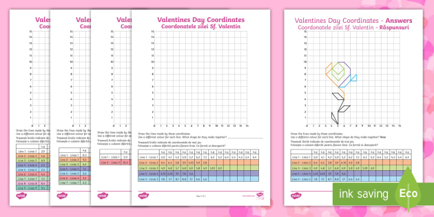 LKS2 Valentines Day Coordinates Worksheet  Activity Sheets
