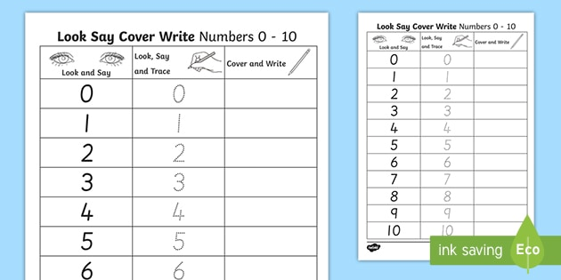 Number Formation 0 To 10 Look, Trace And Write Worksheet / Worksheet