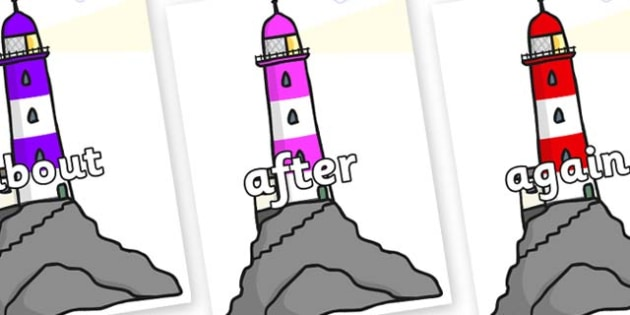 KS1 Keywords on Lighthouses - KS1, CLL, Communication language and literacy, Display, Key words, high frequency words, foundation stage literacy, DfES Letters and Sounds, Letters and Sounds, spelling